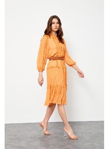 Setre Lila Kemerli Fırfır Detaylı Elbise Oranj